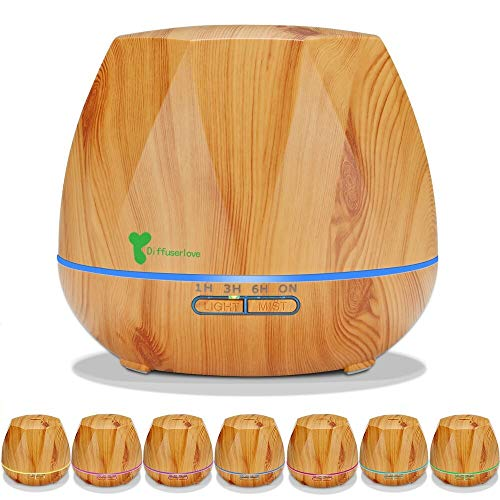 Diffuserlove 550ML diffuser Aroma diffuser Ultraschall Luftbefeuchter Trag usor Cool Mist Humidifier mit 7 Farben LED und AUTO-Abschaltung Funktion,Perfekt für SPA, Massage, Yoga