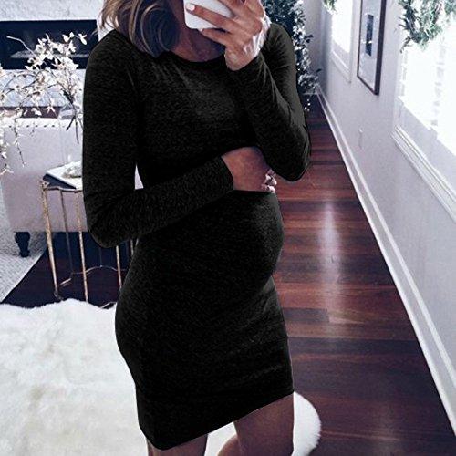 SUMTTER Damen Umstandsmode Umstandskleid Festlich O-Ausschnitt Langarm Pflege Baby für Mutterschaft Minikleid Stillkleid für Schwangere und Stillzeit Lange Ärmel Schwangerschafts Kleid