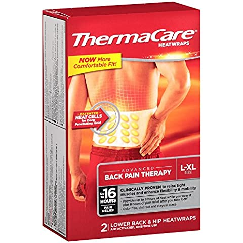 ThermaCare Lower Back & Hip Heat Wraps, Large-XL, 2-Count Boxes (Pack of 3) by ThermaCare