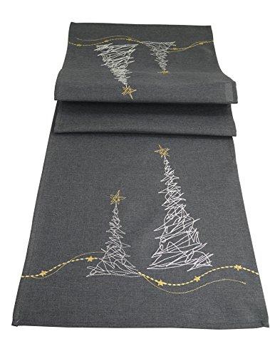khevga Tischläufer Weihnachten modern in Grau mit Stickerei (Grau_Baum)