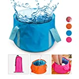 Collapsible Water Bucket Camp Bucket, NATUCE Ultralight Folding Wash Basin Carrying Pouch Travel Outdoor Camping Hiking Storage Pouch 15L - Blue