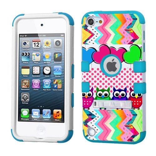 iPod Touch 5. 6. Generation Weiß Kunststoff/Blau Silikon 3-Stil Hybrid Hard Schutzhülle für Apple- für Mädchen und Boys-Shockproof Staubfrei, mit Ständer, Colorful Owls