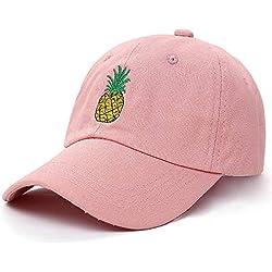 ZKADMZ@ Bordado De Piña Denim Angustiado Dad Hat CapCurved Hat Sombrero De Gorra Sin Construir