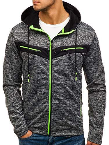 BOLF Herren Kapuzenpullover mit Reißverschluss Hoodie Sportlicher Stil J.Style TT78 Schwarz XL [1A1] (Stiles Hoodie)