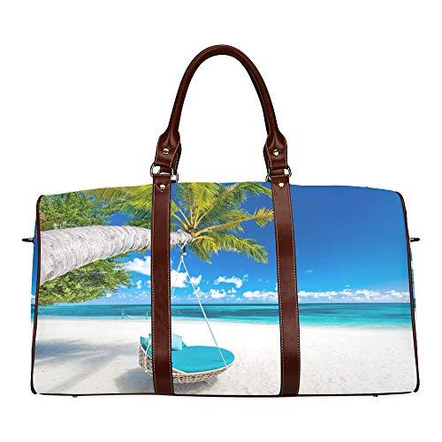 Reisetasche Perfekte Tropische Strandszene wasserdichte Weekender-Tasche Über Nacht Tragetasche Damen Damen-Einkaufstasche Mit Mikrofaser-Leder-Gepäcktasche