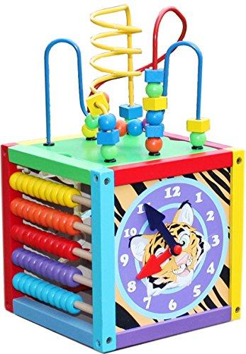 The Cuddle - bunter Spielwürfel für Baby aus Holz, Abnehmbare Motorikschleife, Mint Spielzeug, trainiert Viele Fähigkeiten