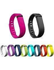 Hometalks 10pcs Deportes reemplazo banda reloj con Broches para Fitbit Flex (sin Rastreador) + 1pcs Hometalks mosquetón - pequeño