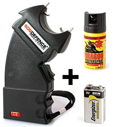 Security-Discount Germany - PTB Elektroschocker 500.000 Volt Mini II inkl. Batterie & 40ml Dragon Pfefferspray