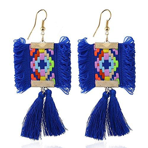 Ohrringe Böhmische Lange Fringe Baumeln Ohrringe, Für Party Täglich Casual Kostüm Schmuck, 3 Farben,Blue (Sinnliche Kostüme)