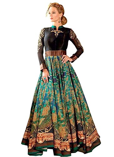 Z-TOP FASHION 1008 Party Wear Gown ( Dijital Print And Women Latesh Designer Wear Gown Beautiful Bollywood Gown (Color-Green&Black Multicolor) For Women Party Wear Offer Designer Gown )Bay =To= Z-Top