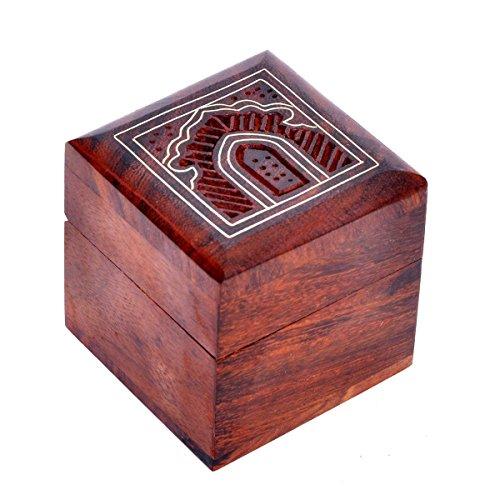 2 Stück Kirsche Schrank (hashcart indischen Handwerker, handgefertigt und Handarbeit Holz jewelry box/Jewelry Lagerung Organizer/Trinket Jewelry Box mit traditionellen Design und Messing Einlegearbeiten)