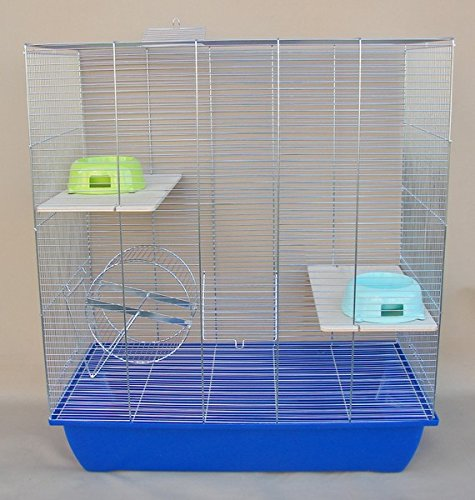 Sehr großer ChinchillaKäfig 70x40x80cm mit blauer Schale, GRATIS , Laufrad, Futternapf, Degu Ratten-Käfig Komplettset 3 Etagenkäfig