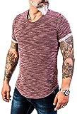 Rock Creek Herren Designer T-Shirt Rundhals Ausschnitt Kurzarm Oversize Shirt Sommershirt Slim Fit Sweatshirt H-151 L Weinrot