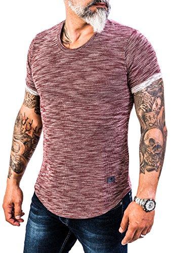 Rock Creek Herren Designer T-Shirt Rundhals Ausschnitt Kurzarm Oversize Shirt Sommershirt Slim Fit Sweatshirt H-151 S Weinrot