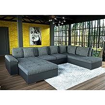 cd0612fc94412 tendencio Grand canapé d angle en U Smile Gris et Noir