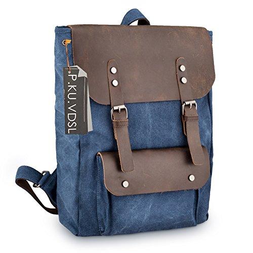 Imagen de  vintage de lona zainotelavintage p.ku.vdsl®  tipo casual y cuero bolso casual para viajes bolsa de escuela unisex  de a diario portátil bolsa adecuada para 15' cuaderno b azul profundo