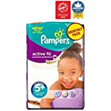 Pampers Actif Couches D'Ajustement Taille 5 + Pack Mensuel - 124 Couches