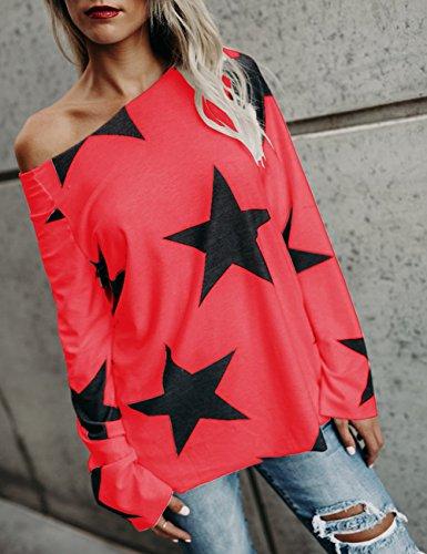 Boutiquefeel Damen Stern Bedruckt Skew Neck Casual Tops T-shirts Rot