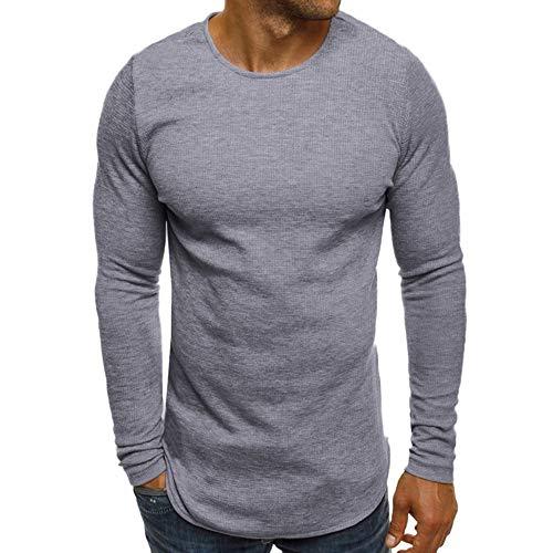 Xmiral Herren Pullover Sweatshirt Beiläufige Feste Lange Hülse dünn T-Shirt Bluse Bodenbildung Herbst und Winter(M,Grau)
