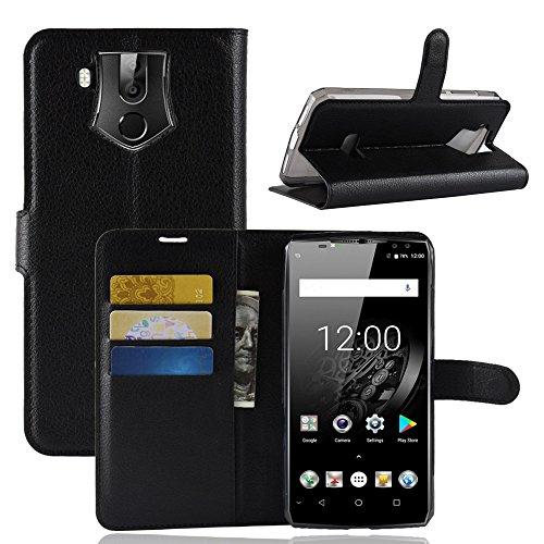 HDOMI Oukitel K10 Hülle, High Grade Leder Geldbörse mit [Kartensteckplätze] Flip Schutzhülle Cover für Oukitel K10 (Schwarz)