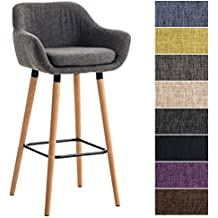 CLP Tabouret De Bar Grant Tissu Design Scandinave I Industriel Dossier Et Accoudoirs