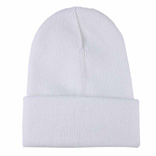Chapeau ADESHOP Mode Unisexe Bonnet à Tricoter Slouchy Unisexe Bonnet Hip Hop Chapeau De Ski d'hiver Chaud Hommes Couleur Pure Bonnet Tricoté (Taille: 28 * 16cm (élastique), Blanc)