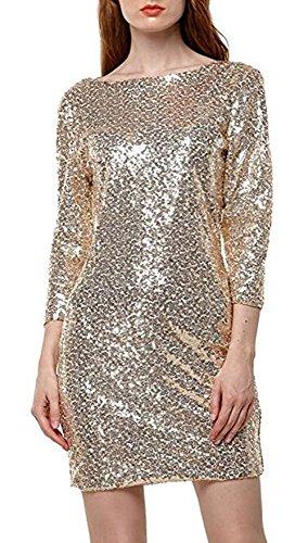 YaoDgFa Damen Paillettenkleid Minikleid Cocktailkleid Abendkleid Partykleider Etui Kleid mit Pailletten Langarm Rückenfrei Kurz, L, Gold