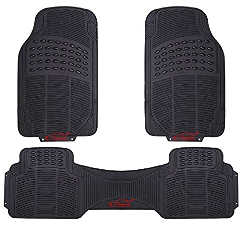 XtremeAuto® Universal Fit 3 Piece Waterproof Heavy Duty BLACK Rubber Front & Rear Car Non-Slip Floor Mats