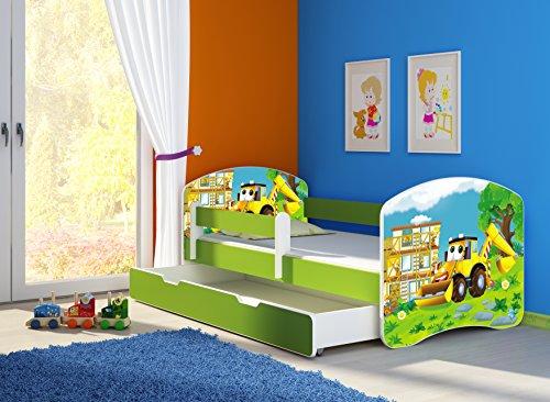 Preisvergleich Produktbild Clamaro 'Fantasia Grün' Motiv Kinderbett Komplett Set 160 x 80 cm inkl. Matratze, Lattenrost und Bettkasten Unterbett Schublade auf Rollen, Kantenschutzleisten umlaufend, extra Rausfallschutz Seitenteil (verstellbar), Seitenteile: Pink, Design: 20 Bagger