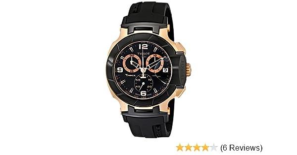 8fc53e845ca8 Tissot T0484172705706 T-Race Rose Gold Quartz Stainless Steel Case Black  Rubber Men s Watch  Amazon.co.uk  Watches
