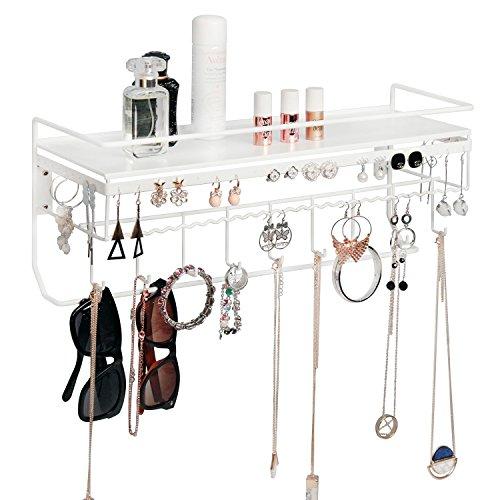 JackCubeDesign An der Wand befestigtes klassisches weißes Eisen-Designer gebildetes Kosmetik-Speicher-Regal w / Halskette Schmuck-Organisator-Regal-Ohrring-Halter -: MK238B