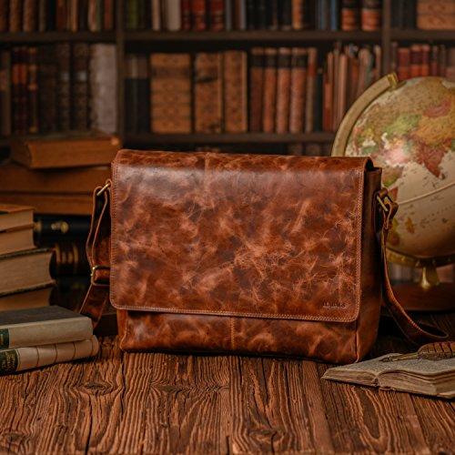 LEABAGS Oxford borsa a tracolla vintage in vera pelle di bufalo - Nero FurryVinkat