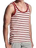 Honeystore 3er Pack Herren Top Stripe Big Tank Rot L