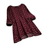 Zolimx Plus Size Damen Vintage Baumwolle und Leinen mit Blumendruck Tops Lange Ärmel O-Ausschnitt Bluse Shirts Tops
