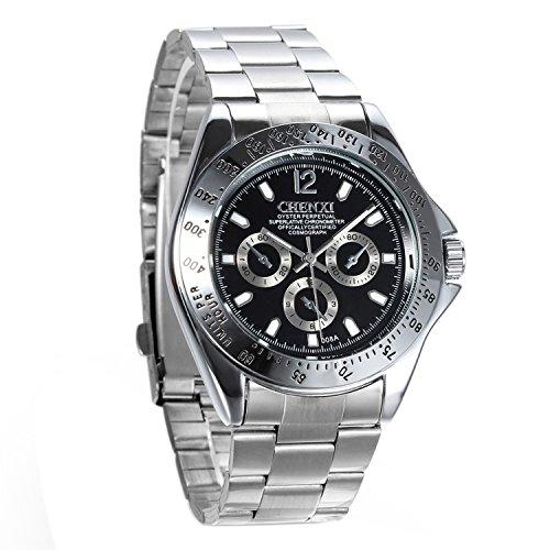 avaner Herren Business Casual Luxus Edelstahl Band Schwarz Runde Dial Analog Quarz Handgelenk Kleid Armbanduhr
