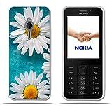 Custodia Nokia 230, FUBAODA [due Crisantemo bianco] trasparente Silicon Clear TPU design trasparente opaco morbido in gomma Silicon Cover telefono protezione caso per Nokia 230