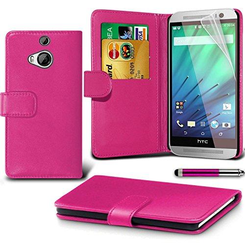 HTC One M8s Pink Farbe PU Lederetui Buch-Stil Handy Hülle mit Displayschutz-Folie & Eingabestift von Gadget Giant®