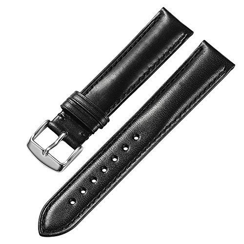 iStrap 18 mm 19mm 20 mm 21mm 22 mm echt Leder Uhrenarmband Armband gepolstert Kalbsleder Gurt Edelstahl Schnalle Super Weich – Schwarz