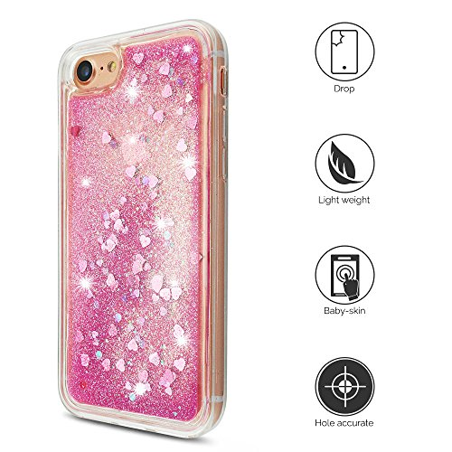 iPhone 7 Hülle, iPhone 8 Silikon Schutzhülle, Anfire Bling 3D Transparent Handy Case Hülle Weich TPU Silikon Schutzhülle Kreativ Dynamisch Treibsand Liquid Fließen Flüssig Muster Schale Tasche Glitter Hell Rosa