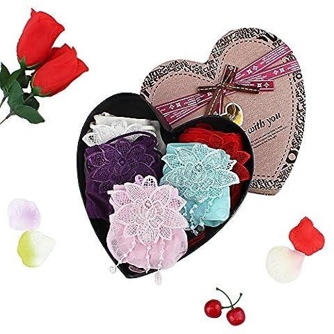 Ich. valux 5er Pack Sexy Spitzen String String Panty String Unterwäsche, mehrfarbige Beste Geschenke für Ihr Lover 6-Pack, Heart-shaped Box Packed einheitsgröße