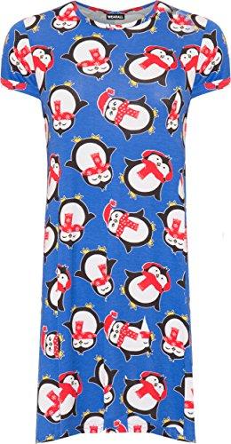 WEARALL Damen Plus Pinguin Weihnachten Druck Top Damen Kurz Hülle Runde Hals Lang T-Shirt - 42-56 Blau