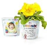Blumentopf (ø16cm) | Urkunde Geschenk zum Abschied Kindergarten mit Rahmen für zwei Fotos (10x15cm) | Für den besten Erzieher