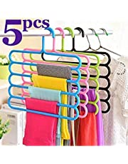Angel Bear Multipurpose Hanger Clothes Organiser for Wardrobe, Shirts, Ties, Pants Space Saving Hanger, Cupboard, Strong 5Pcs