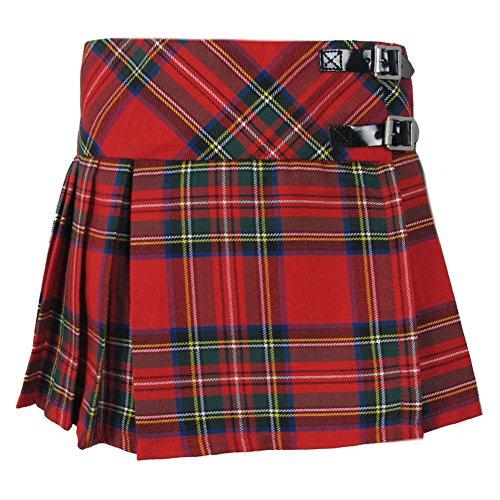 Tartanista - Mädchen Faltenröcke mit Tartanmuster - modern - mit Lederriemen - Royal Stewart - 14 Jahre - Taille: 62cm (24,5