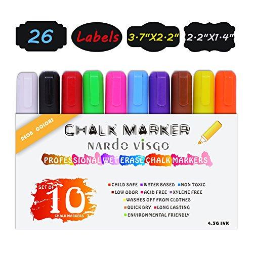 nardo-visgo-marcatori-a-gesso-liquido-e-penne-set-di-10-pennarelli-cancellabili-neon-color-reversibi
