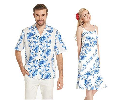 Hecho-en-Hawaii-Premium-Couple-Matching-Luau-Aloha-Camisa-de-vestir-Floral-Azul-Lnea-Floral-en-blanco