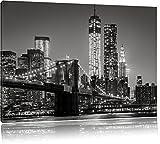 New York City Skyline bei Nacht Format: 100x70 cm auf Leinwand, XXL riesige Bilder fertig gerahmt mit Keilrahmen, Kunstdruck auf Wandbild mit Rahmen, günstiger als Gemälde oder Ölbild, kein Poster oder Plakat