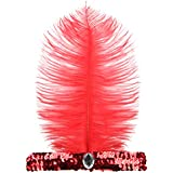 Womens Headband - TOOGOO(R)Womens Fashion Sequin Inlay Diamond Feather Elasticity Headband Red