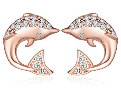 Unendlich U Niedlich Delfin Delphin Damen Ohrstecker 925 Sterling Silber Zirkonia Stecker Ohrringe Ohrschuck, Rosegold (Niedliche Halloween Outfits Frauen)