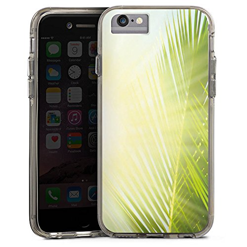 Apple iPhone 6 Bumper Hülle Bumper Case Glitzer Hülle Palme Sonne Sun Bumper Case transparent grau